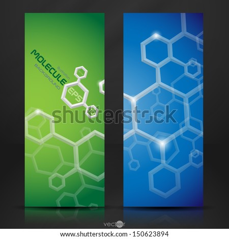 Molecule banner.  Vector illustration. Eps 10. - stock vector
