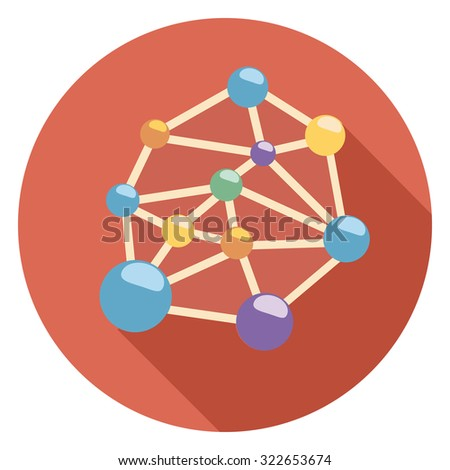 molecule flat icon in red circle - stock vector