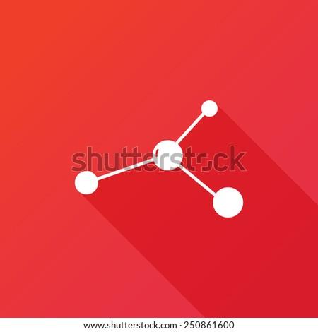 Molecule icon. Vector illustration flat design with long shadow - stock vector