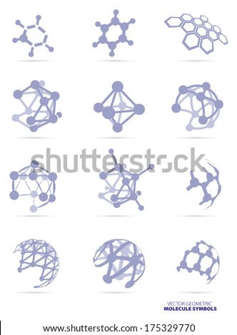 Molecule Icons Set  isolated on white background, vector Illustration - stock vector