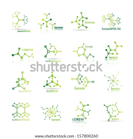 Molecule Icons Set - Isolated On White - Vector Illustration, Graphic Design Useful For Your Design - stock vector