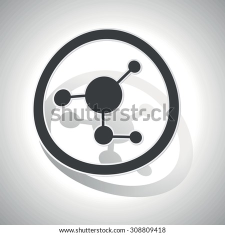 Molecule sign sticker, curved, with outlining and shadow - stock vector
