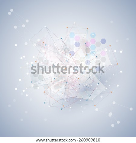 Molecule structure, blue background for communication, science vector illustration. - stock vector