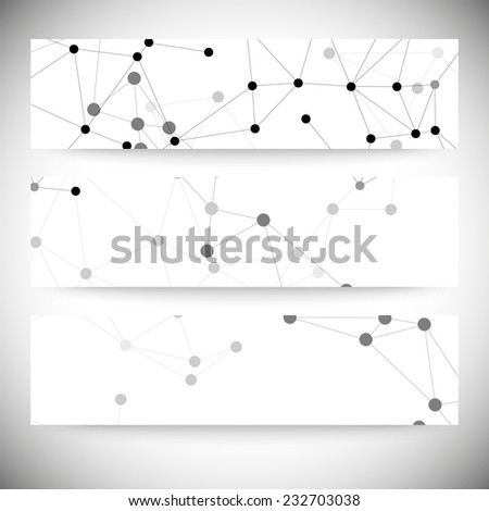 Molecule structure, gray background for communication, vector illustration. - stock vector