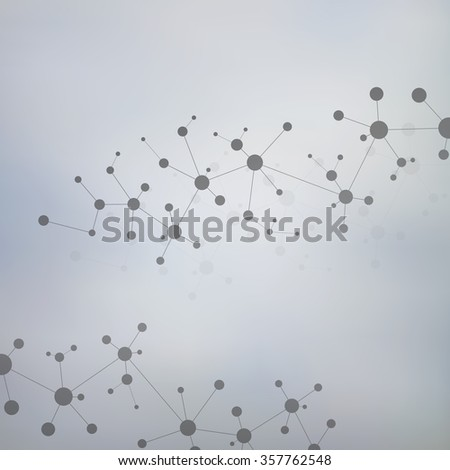 Molecule structure on the grey background . Vector illustration of communication for your design
