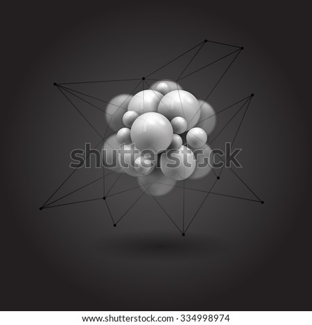 molecules spheres abstract background . molecular structure.  - stock vector