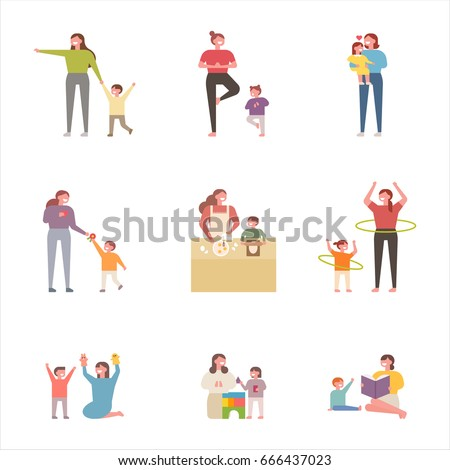Mom and children various plays character vector illustration flat design