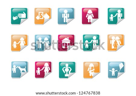 Mom and Dad Family Icon Symbol Sticker Set - stock vector