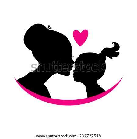 Mom and daughter love - stock vector