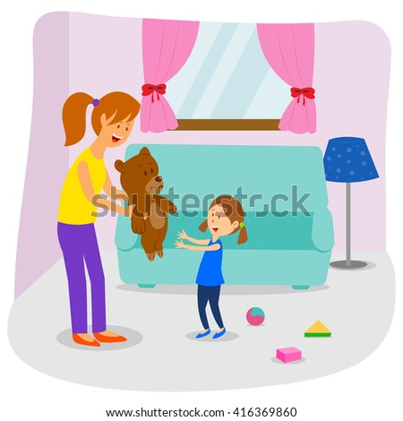 Mom and daughter playing with teddy bear in vector - stock vector