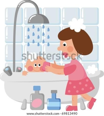 Mom bathing baby - stock vector