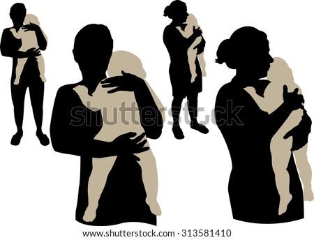 Mom holding sleepy baby vector silhouette - stock vector
