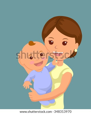 Mom holds the baby in her arms. Mother love. Happy Mothers' day.  - stock vector