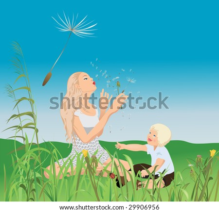Mom, little-one and the dandelions - stock vector