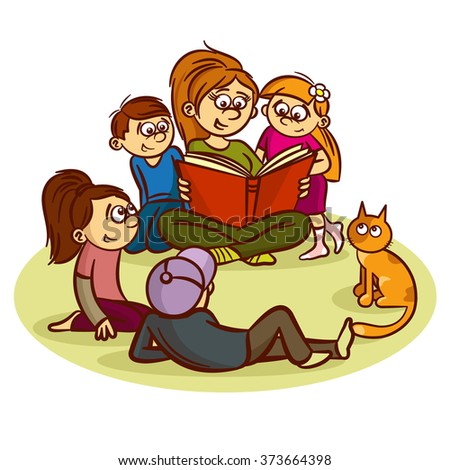 Mom reading a book for children - stock vector