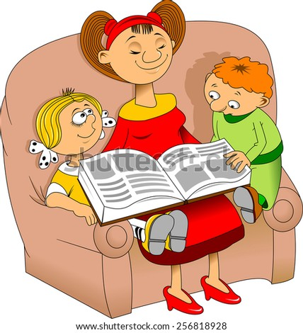 Mom reading an interesting book for children, vector - stock vector