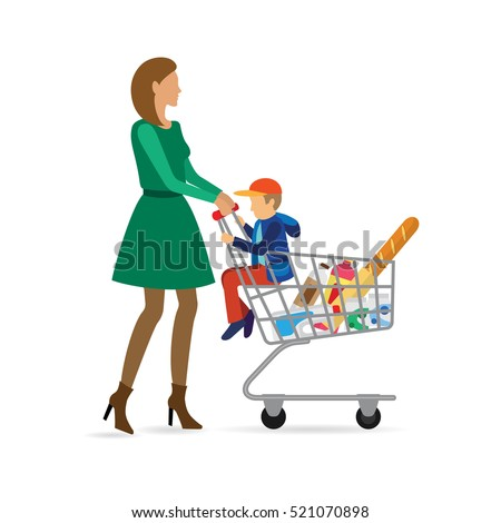 Mom shopping in the store with a child . Vector illustration in a flat style. A woman with a grocery shopping cart.