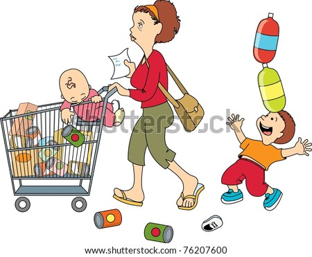 mom shopping with children (isolated)