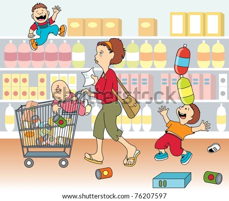 Mom Shopping Kids Stock Vector 76207597 - Shutterstock