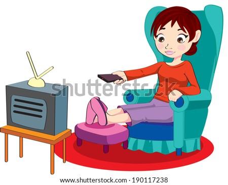 Watch Tv Stock Vectors Amp Vector Clip Art Shutterstock