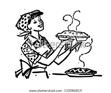 Mom With Fresh Baked Pies - Retro Clipart Illustration - stock vector