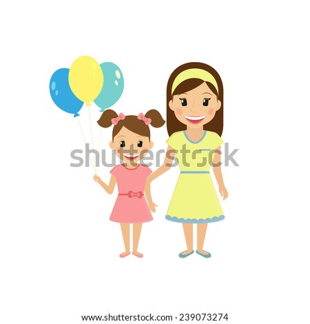 Mom with little daughter isolated on white - stock vector