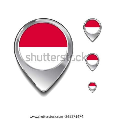 Monaco flag map pointer. 3d Map Pointer with flag glossy button style on gray background - stock vector