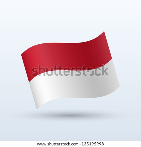 Monaco flag waving form on gray background. Vector illustration.