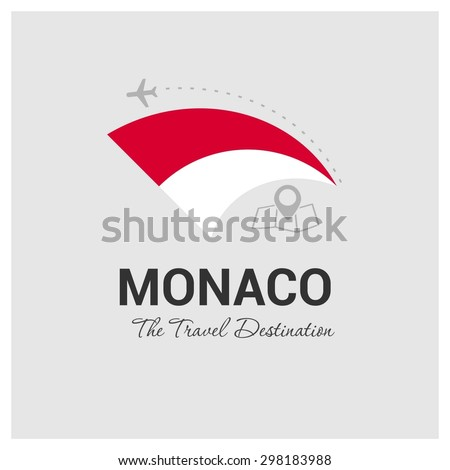 Monaco The Travel Destination logo - Vector travel company logo design - Country Flag Travel and Tourism concept t shirt graphics - vector illustration - stock vector