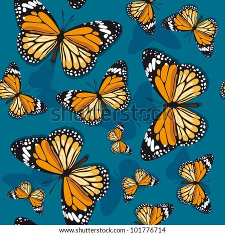 Monarch butterflies on blue background - stock vector