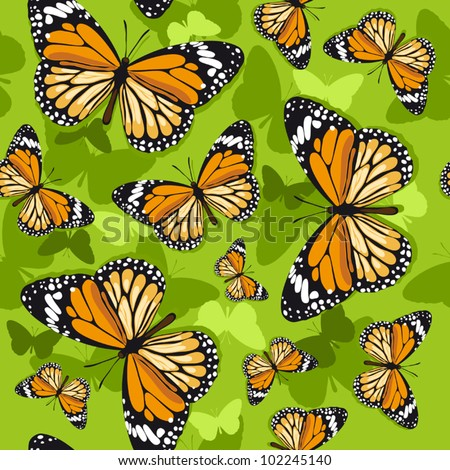 Monarch butterflies on green background - stock vector