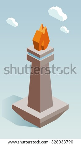 Monas jakarta isometric vector illustration - stock vector