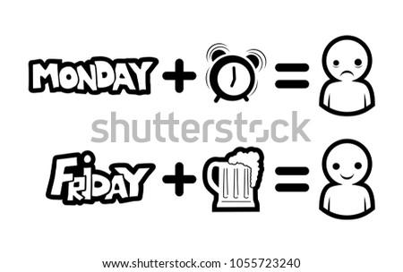 Monday Friday Funny Symbols Stock Vector Royalty Free 1055723240