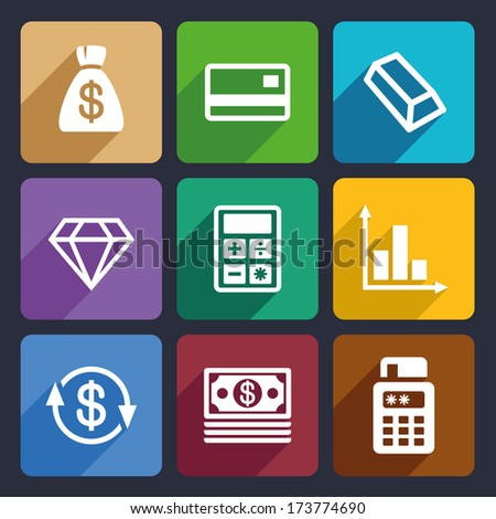 Money and bank Flat Icons Set 41 - stock vector