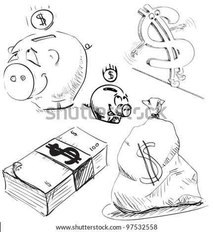 Money and cash icons set. Hand drawing sketch vector objects isolated on white background - stock vector