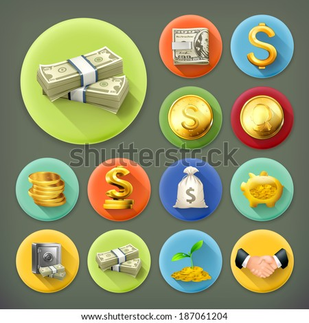 Money and coins, business and finance long shadow vector icon set - stock vector