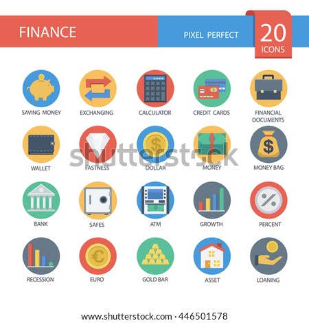 Money and finance in flat icons , Set 2 ,vector eps10. - stock vector