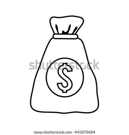 Money and Financial item concept represented by money bag icon. isolated and flat illustration