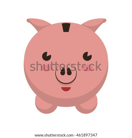 Money and Financial item concept represented by piggy icon. Isolated and flat illustration