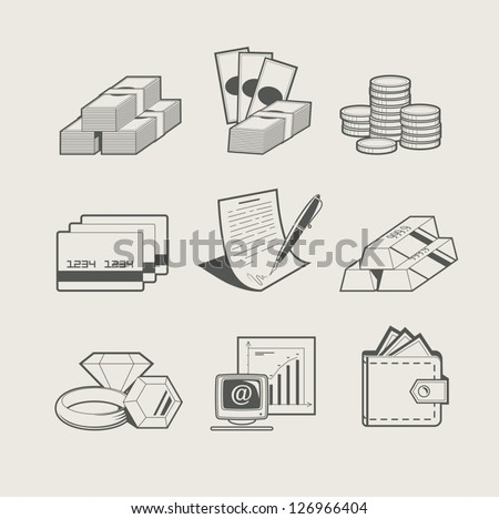 money and jewellery set of icon. Vector Illustration. - stock vector