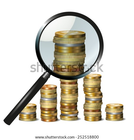 Money and magnifying glass showing financial success. Vector illustration