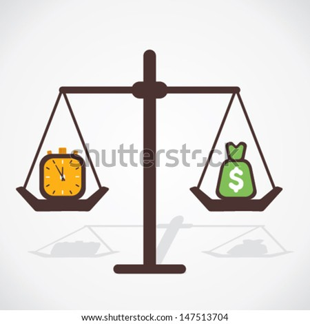 money and time are equal concept vector - stock vector