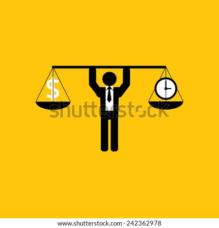 money and time icon : businessman carry balance money and time : business concept on yellow background - stock vector