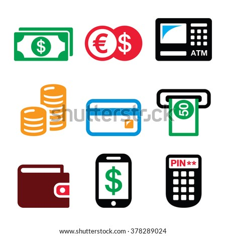 Money, ATM - cash machine vector icons set  - stock vector