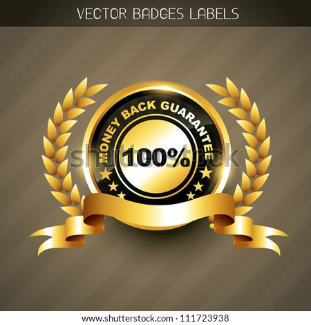 money back guarantee golden label vector - stock vector