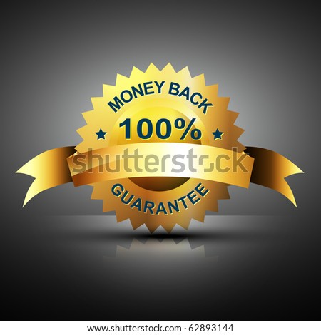 money back guarantee icon in golden color