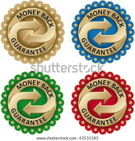 Money Back Guarantee labels Set with gold arrows and stars - stock vector