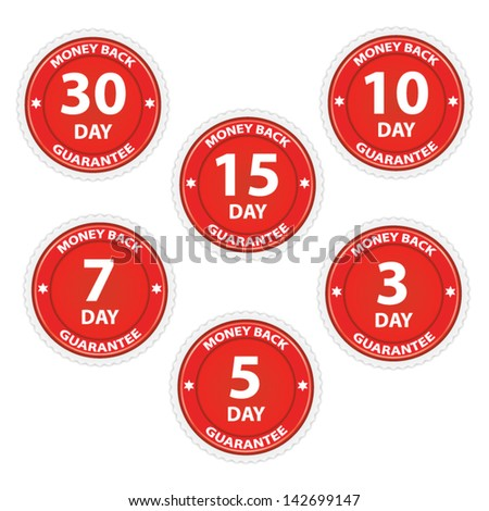 Money back guarantee red set, vector illustration