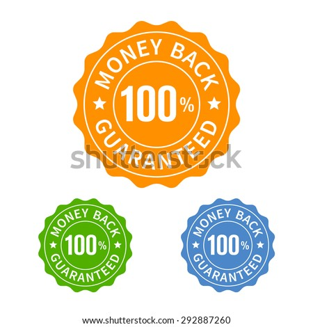 Money back guarantee seal or stamp flat icon - stock vector