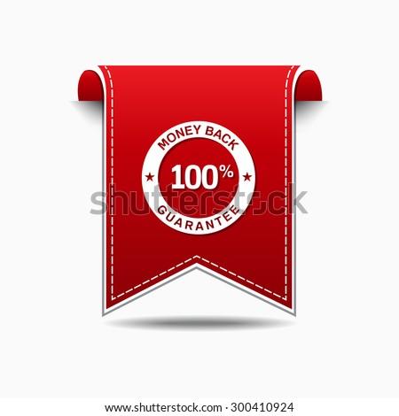Money Back Red Vector Icon Design - stock vector